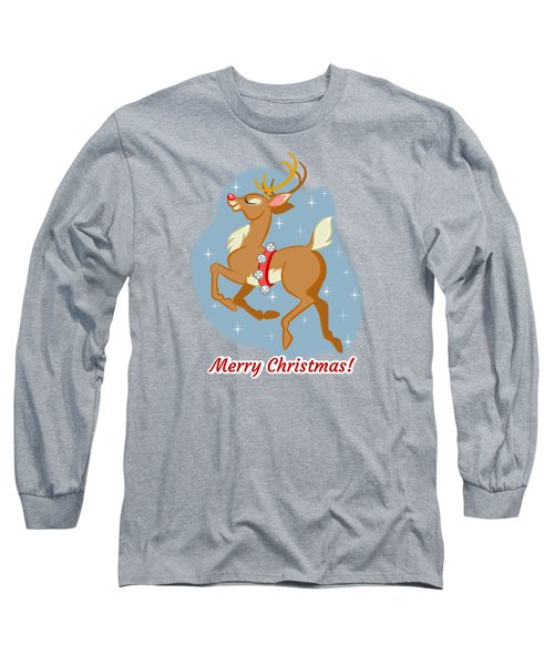 Long Sleeve T-Shirt featuring the digital art Charming Retro Reindeer by J L Meadows