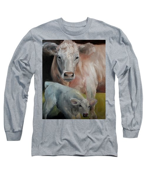 Charolais Cow Calf Painting Long Sleeve T-Shirt by Michele Carter