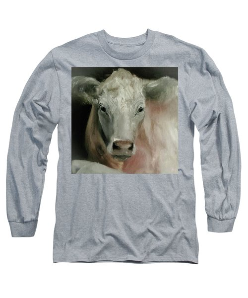 Charolais Cow Painting Long Sleeve T-Shirt by Michele Carter