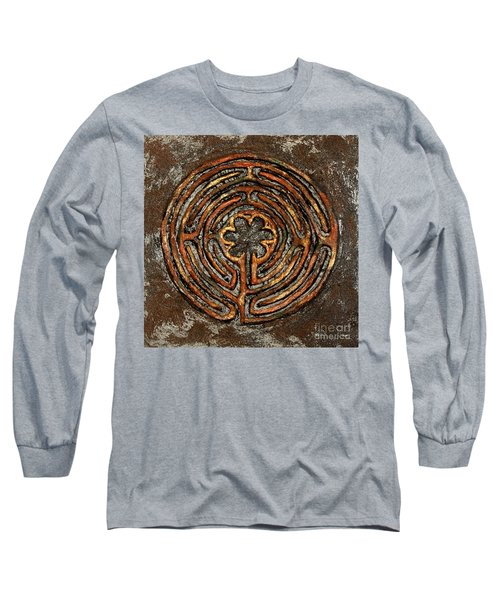 Chartres Style Labyrinth Earth Tones Long Sleeve T-Shirt