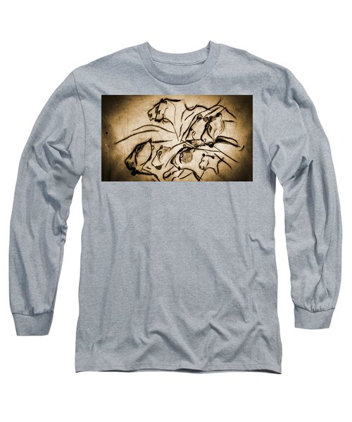 Chauvet Cave Lions Burned Leather Long Sleeve T-Shirt