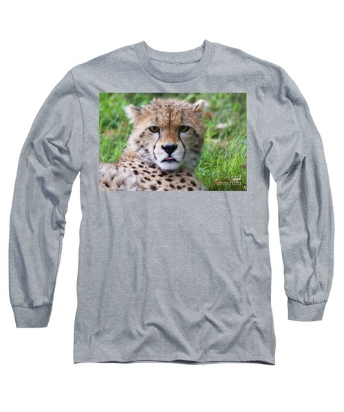 Long Sleeve T-Shirt featuring the photograph Cheetah by MGL Meiklejohn Graphics Licensing