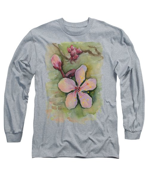 Cherry Blossom Watercolor Long Sleeve T-Shirt