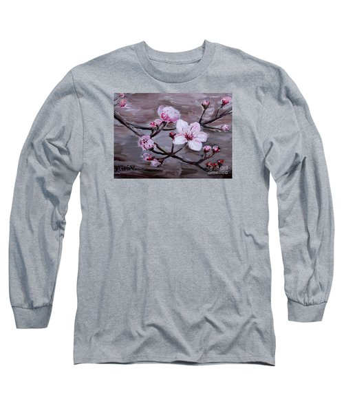 Long Sleeve T-Shirt featuring the painting Cherry Blossoms by Maria Langgle