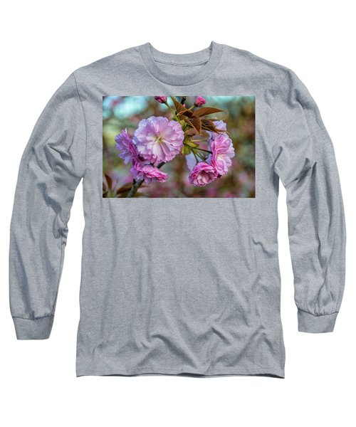 Cherry Blossoms Long Sleeve T-Shirt by Pat Cook