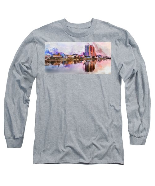 Cherry Grove Skyline - Digital Watercolor Long Sleeve T-Shirt