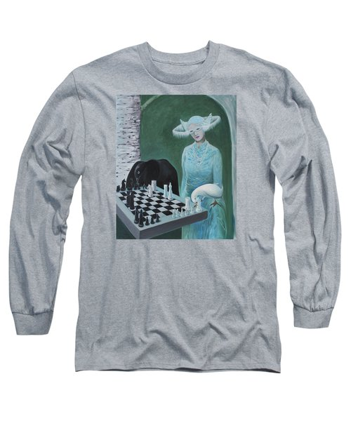 Long Sleeve T-Shirt featuring the painting Chess - The Queen Waits by Tone Aanderaa