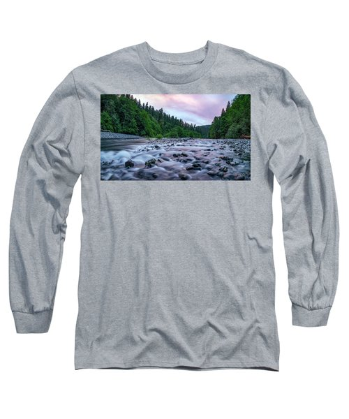 Chetco River Sunset 2 Long Sleeve T-Shirt by Leland D Howard