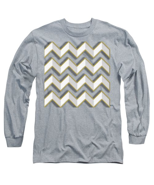 Chevrons - Gold Edges Long Sleeve T-Shirt by Chuck Staley