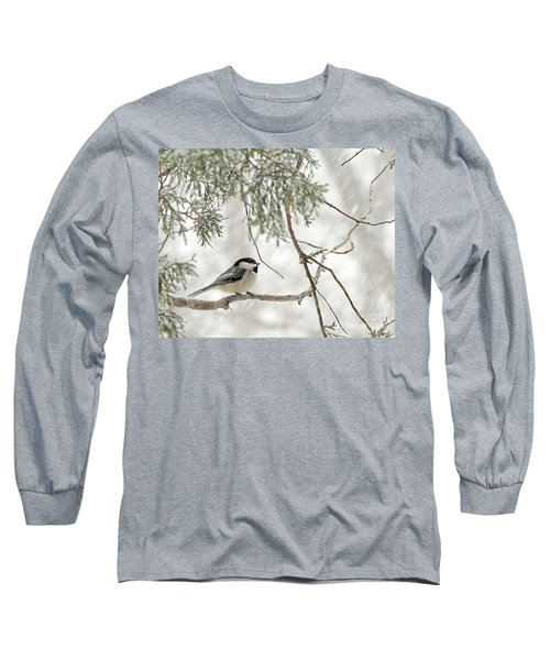 Chicadee In A Snow Storm  Long Sleeve T-Shirt