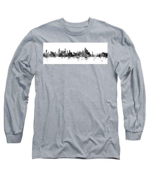 Chicago And New York City Skylines Mashup Long Sleeve T-Shirt