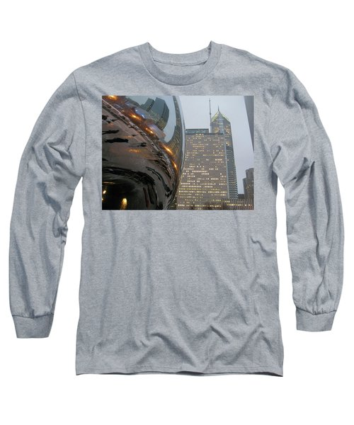Long Sleeve T-Shirt featuring the photograph Chicago Cloud Gate. Reflections by Ausra Huntington nee Paulauskaite