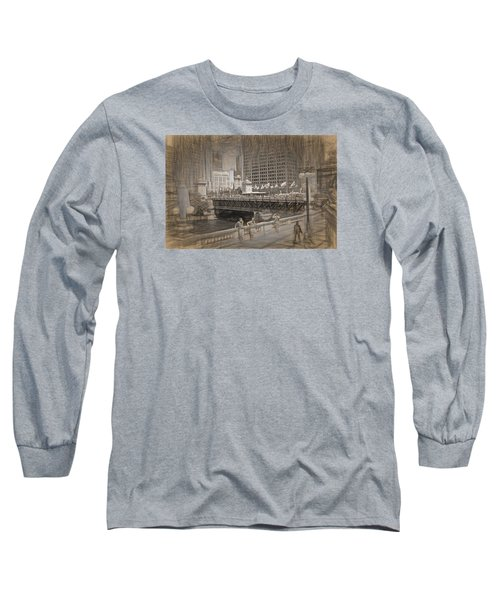 Chicago Dusable Bridge Street Scene Long Sleeve T-Shirt