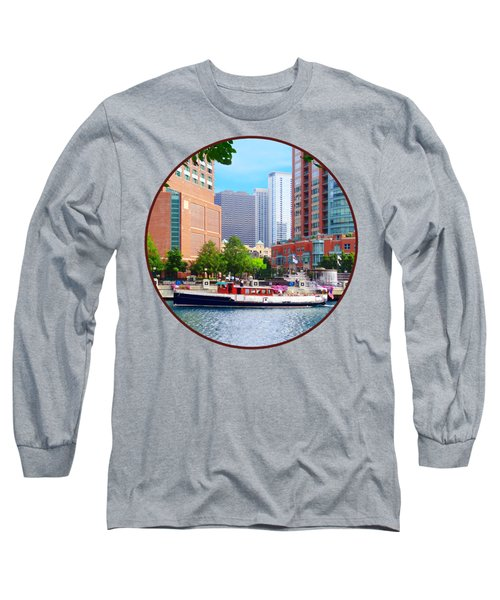 Chicago Il - Chicago River Near Centennial Fountain Long Sleeve T-Shirt by Susan Savad