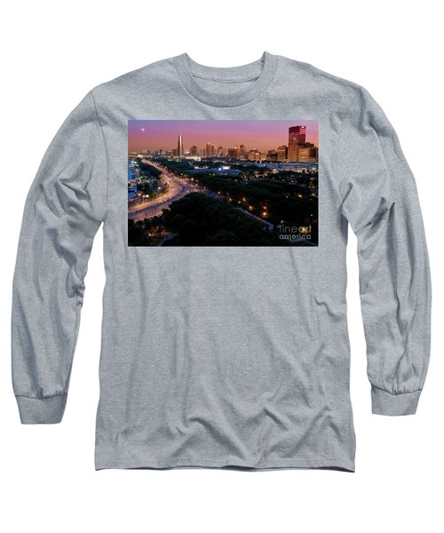 Chicago Independence Day At Night Long Sleeve T-Shirt