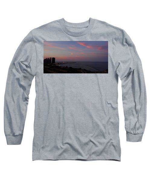 Chicago Lakefront At Sunset Long Sleeve T-Shirt by Michael Bessler