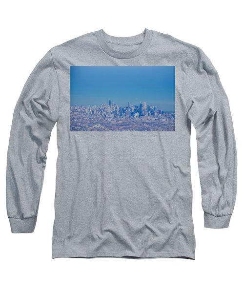 Long Sleeve T-Shirt featuring the photograph Chicago Skyline Aerial View by Deborah Smolinske