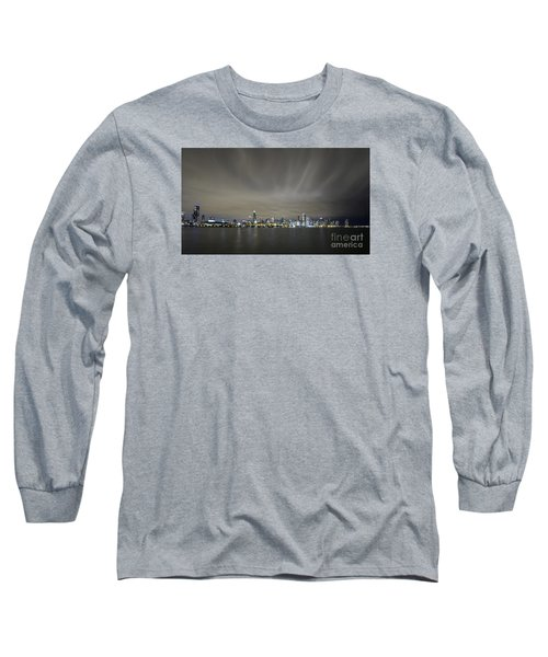 Long Sleeve T-Shirt featuring the photograph Chicago Skyline At Night by Keith Kapple