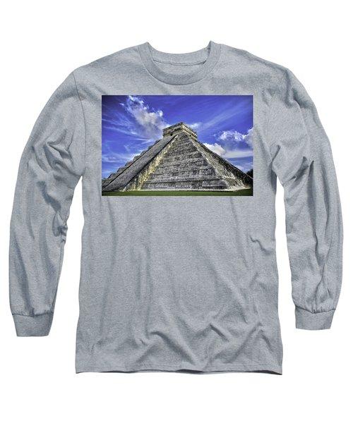 Chichen Itza, El Castillo Pyramid Long Sleeve T-Shirt by Jason Moynihan