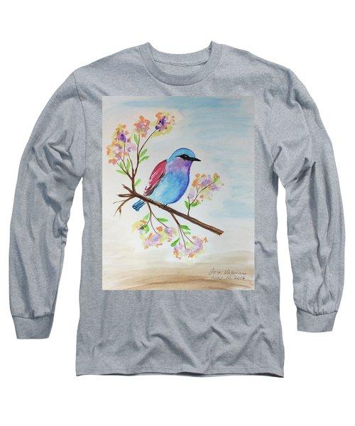 Chickadee On A Branch Long Sleeve T-Shirt