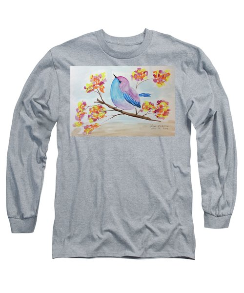 Chickadee On A Branch With Head Up Long Sleeve T-Shirt
