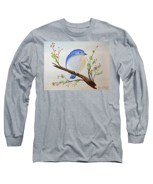 Chickadee On A Branch With Leaves Long Sleeve T-Shirt