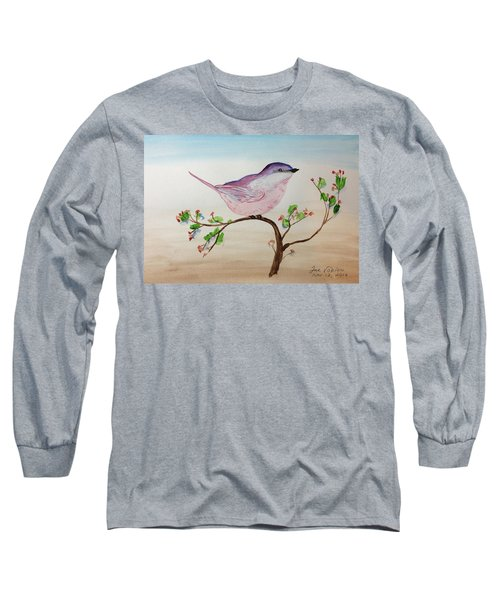 Chickadee Standing On A Branch Looking Long Sleeve T-Shirt