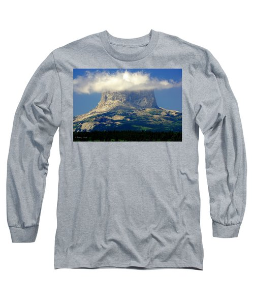 Chief Mountain, With Its Head In The Clouds Long Sleeve T-Shirt