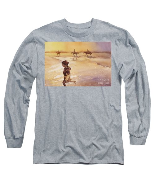 Long Sleeve T-Shirt featuring the painting Child On Beach- Ocracoke Island, Nc by Ryan Fox