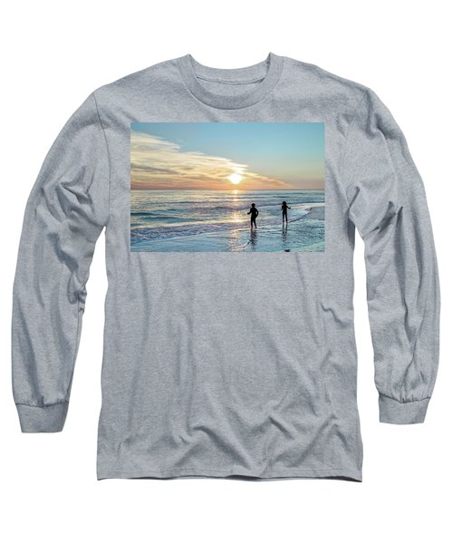 Children At Play On A Florida Beach  Long Sleeve T-Shirt
