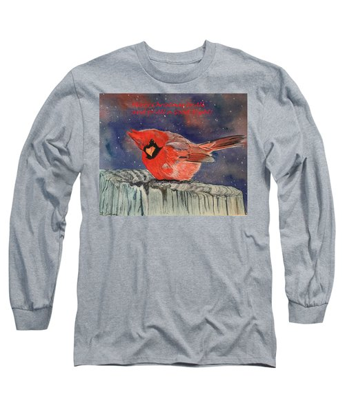 Chilly Bird Christmas Card Long Sleeve T-Shirt