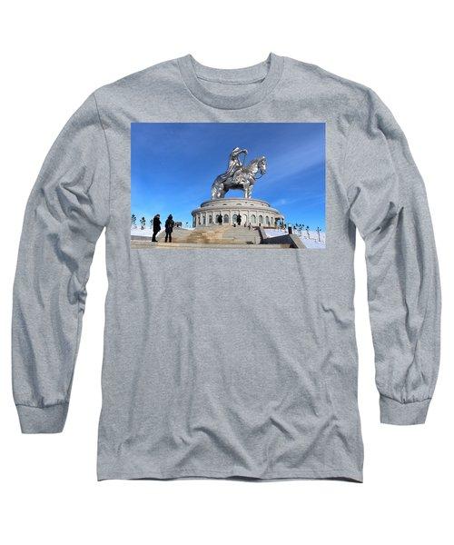 Chinggis Khan Statue/tsagaan Sar Long Sleeve T-Shirt by Diane Height