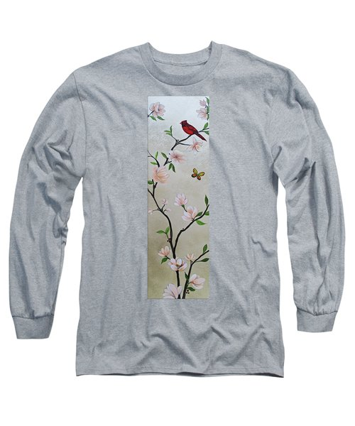 Chinoiserie - Magnolias And Birds #3 Long Sleeve T-Shirt