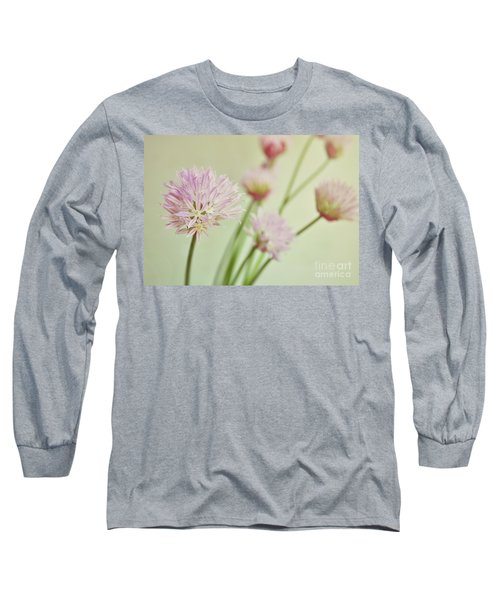 Chives In Flower Long Sleeve T-Shirt by Lyn Randle
