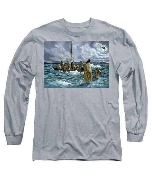 Christ Walking On The Sea Of Galilee Long Sleeve T-Shirt