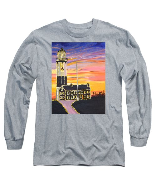 Long Sleeve T-Shirt featuring the painting Christmas At The Lighthouse by Donna Blossom
