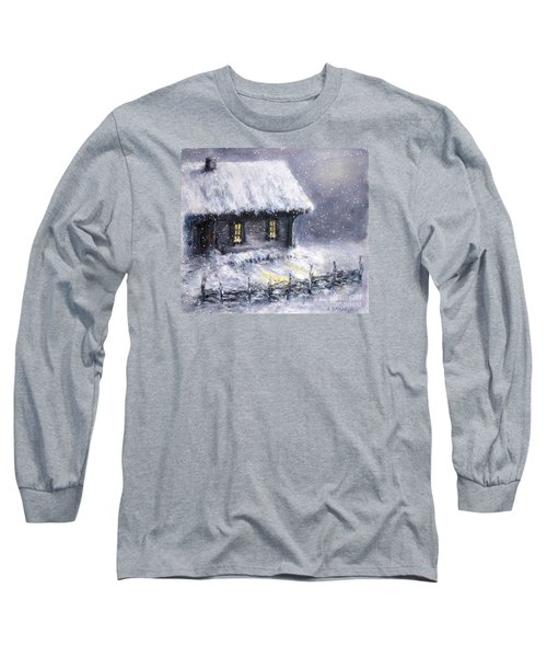 Long Sleeve T-Shirt featuring the painting Christmas Eve by Arturas Slapsys