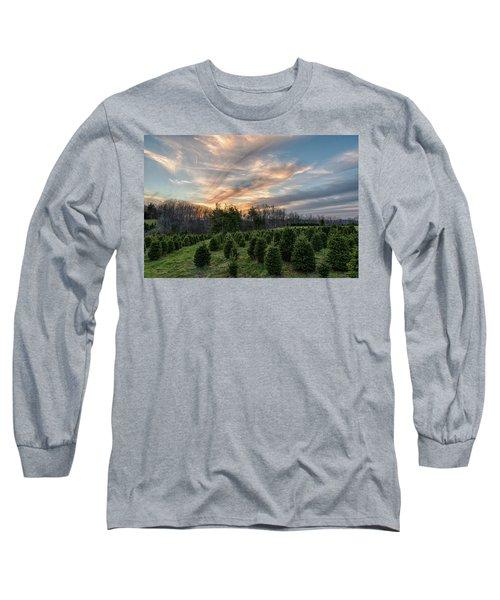 Christmas Tree Farm Sunset Long Sleeve T-Shirt