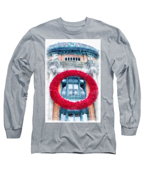 Christmas Wreath Old Quebec City Long Sleeve T-Shirt