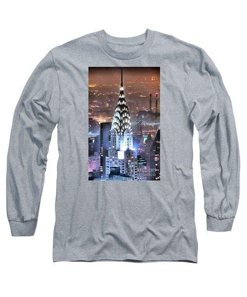 Chrysler Building At Night Long Sleeve T-Shirt by Mick Flynn