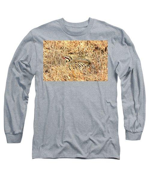 Long Sleeve T-Shirt featuring the photograph Chuckar Bird Hiding In Grass by Sheila Brown