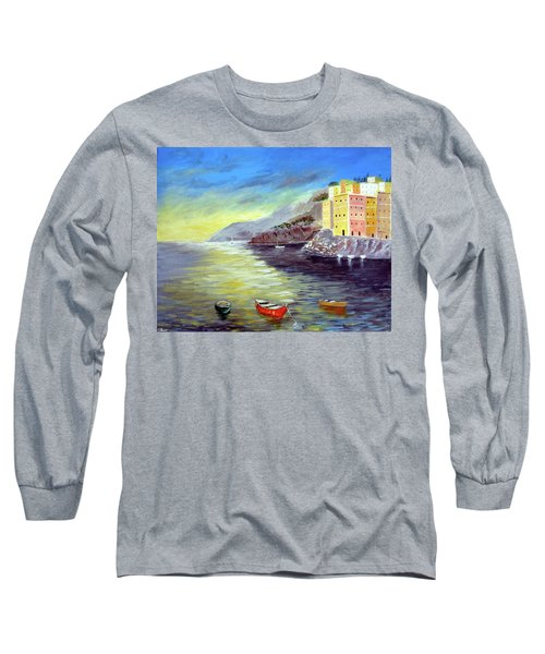 Long Sleeve T-Shirt featuring the painting Cinque Terre Dreams by Larry Cirigliano