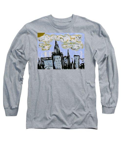 City In Blue Long Sleeve T-Shirt by Dan Twyman