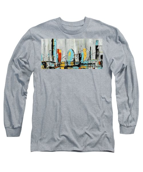 Long Sleeve T-Shirt featuring the painting City Limits by Carmen Guedez