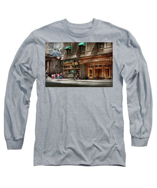 Long Sleeve T-Shirt featuring the photograph City - Ma Boston - Meet Me At The Omni Parker Clock by Mike Savad