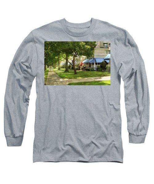 Long Sleeve T-Shirt featuring the photograph City - Naval Academy - A Walk Down Captains Row by Mike Savad