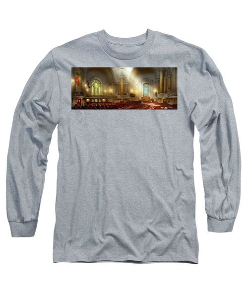 Long Sleeve T-Shirt featuring the photograph City - Naval Academy - The Chapel by Mike Savad