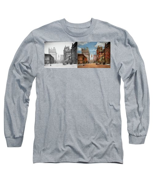 Long Sleeve T-Shirt featuring the photograph City - Pa Philadelphia - Broad Street 1905 - Side By Side by Mike Savad