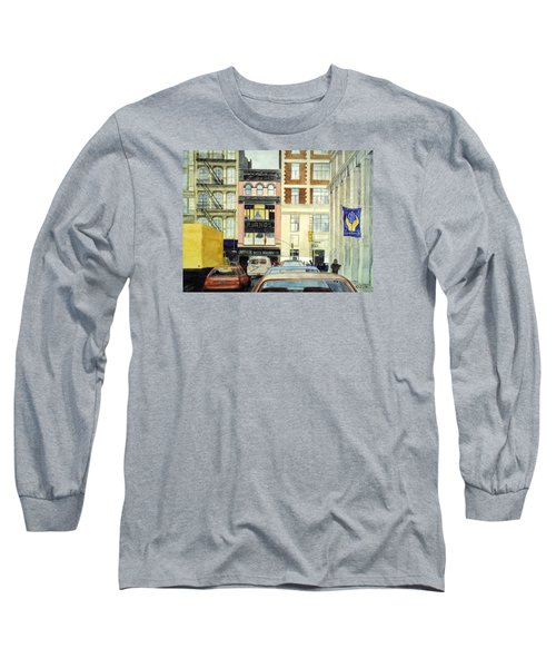 Long Sleeve T-Shirt featuring the painting Cityscape by Karen Zuk Rosenblatt