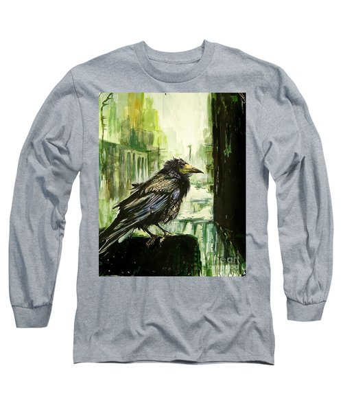 Cityscape With A Crow Long Sleeve T-Shirt